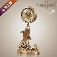 2017 Meijswxj Saat Bracket Clock Reloj Relogio Pure Copper Table Clock Metal Bedside Mute living room quartz clocks 40*20*13cm
