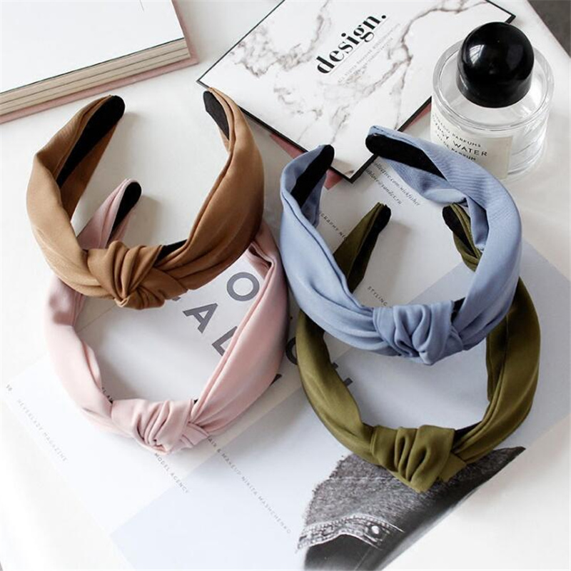 1 Pc Women Bezel Fashion Korean Style Hairband Female Girls Casual Elegant Cloth Cross Solid Color Hair Accessories Headwear