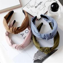 1 pc kobiety Bezel moda koreański styl Hairband kobiece dziewczyny dorywczo z eleganckiej tkaniny krzyż jednolity kolor włosów akcesoria nakrycia głowy tanie tanio RuoShui Poliester COTTON WOMEN Dla dorosłych GEOMETRIC TZ-74283483 Headwear Daily Life Party Zhejiang China (Mainland)