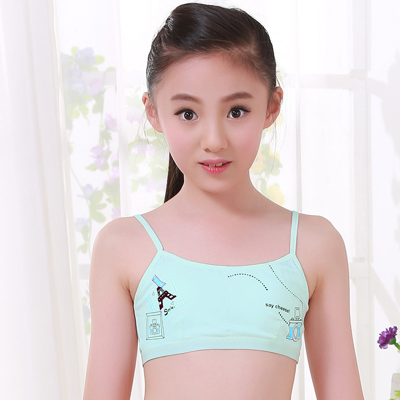 Girls junior high school girls development period underwear no rims strap type cotton bra sports vest in Bras from Mother Kids