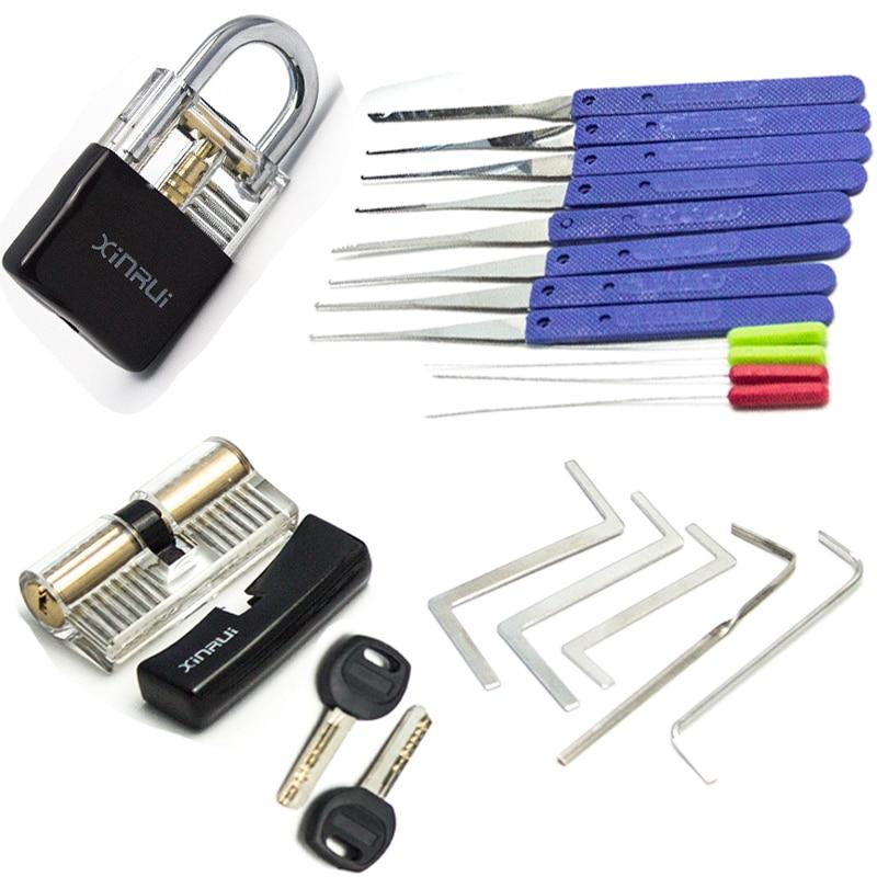 Herramienta de llave tensora de cerrajero, combinación de bloqueo de selección de práctica, herramientas extractoras de llave rotas con cubierta negra transparente