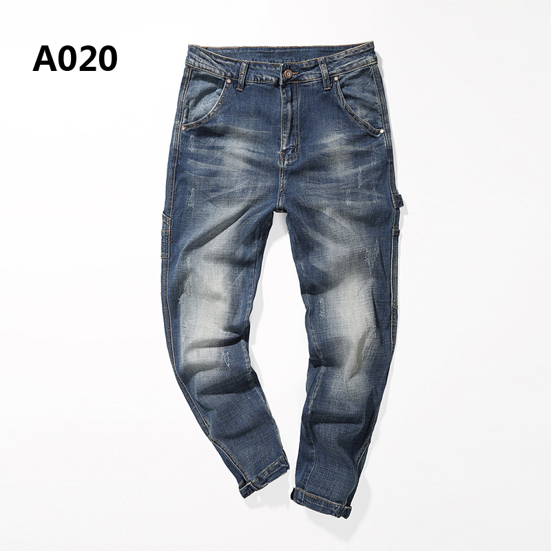 Mens Blue Jeans Harem Pants Brand Clothing Casual Regular Fit Ripped Jeans Men Trousers Pockets Open Designer Stripe Jeans A020