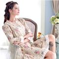 2017 de Otoño de las mujeres ropa de dormir bothrobe camisón de los pijamas de algodón de manga larga de cuello redondo de encaje elegante dulce bata de casa