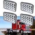 4x Rectangular 4x6 Inch LED Headlight Sealed Beam Replace HID H4651 H4652 H4656 H4666 H6545 For Peterbilt Kenworth FREIGHTLINER
