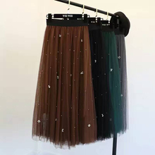 Shintimes Jupe Longue2019 Summer Autumn Tulle Pleated Skirts Womens Beading High Waist Solid A-line Solid Skirt Saia Feminina недорого