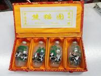 Hand painted glass snuff bottle inner panda logo