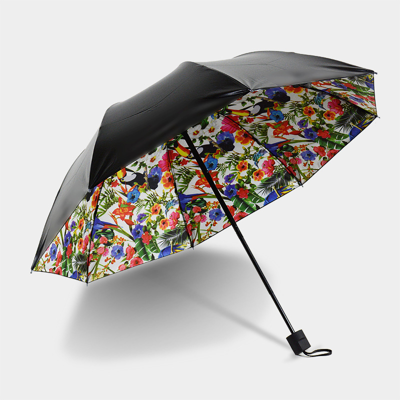 e96bab8c6 New Arrive Summer Sun Fashion Lady Flowers Printed Umbrella 8 Spokes 3 Fold  Women Sunny Rain Anti-uv Umbrellasn Drop Shipping