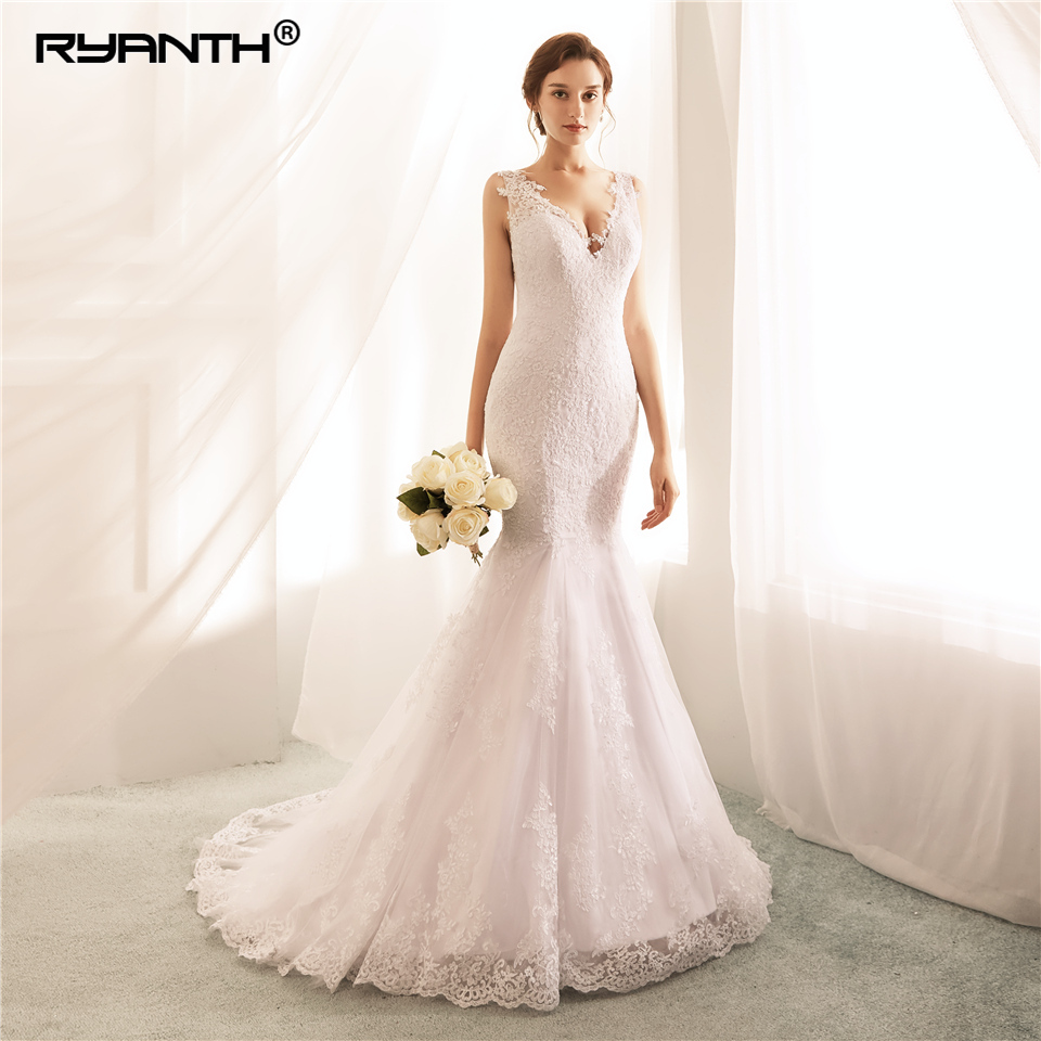 Ryanth Robe De Mariee Lace Appliques Wedding Dress Sexy Backless Mermaid Wedding Dresses 2018 Vestidos De