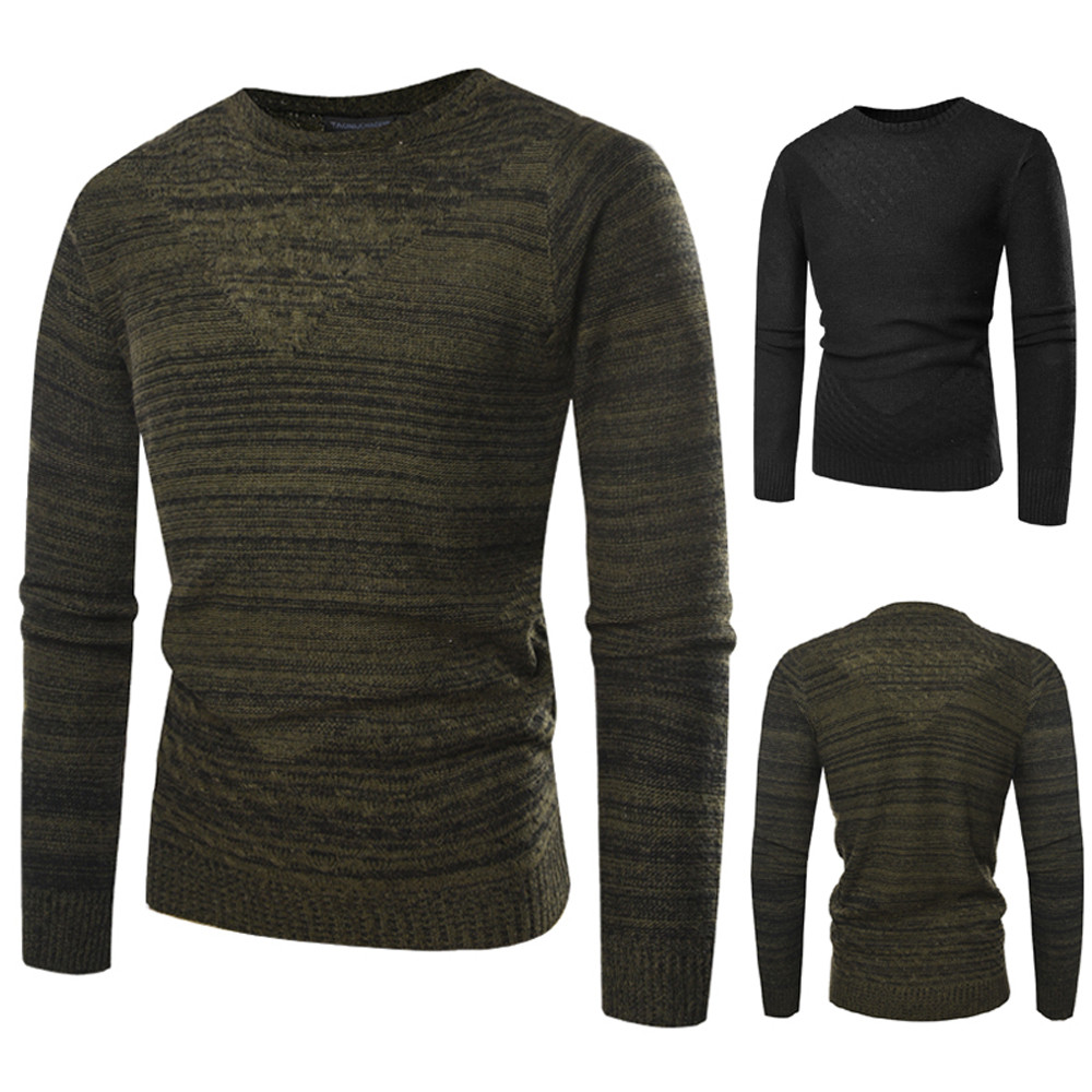 Men Autumn Winter Pullover Knitted Top Printed Sweater Outwear Blouse