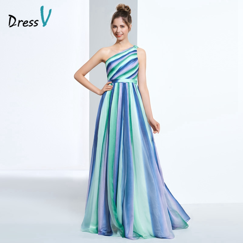 Dressv one-shoulder printing prom dress multi color A-line floor length pleats graduation prom dress printed long evening dress