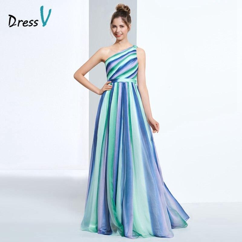 Dressv one shoulder printing prom dress multi color A line floor ...