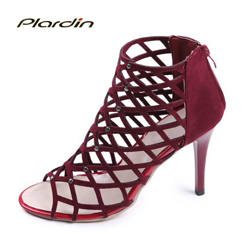plardin 2017 Summer Woman Cross tied Ankle Strap Peep Toe Thin Heels Sexy women Pumps Metal