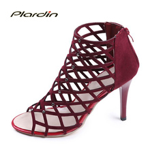 plardin  2017 Summer Woman Cross-tied Ankle Strap Peep Toe Thin Heels Sexy women Pumps Metal Decoration Gladiator Zipper Shoes