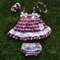 2016 Cabrito del bebé del $ number de Julio Patriótico enagua Puede Memorial day traje de niña de cuarto de Julio swing swing conjuntos $ number de julio tops