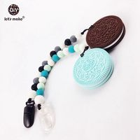Cookie Teether Silicone Beads Oreo 2PC Baby Shower Gift Food Grade Soother BPA Free Silicone Teether