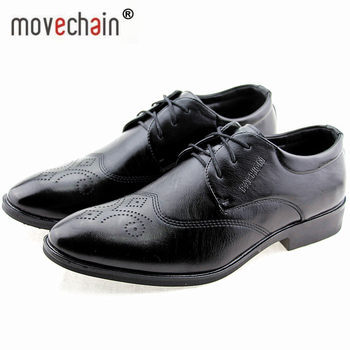 Movechain Men's Dress Wedding Flat Shoes Luxury Man Business Office Oxfords Casual Shoes Black / Brown Leather Derby Shoes