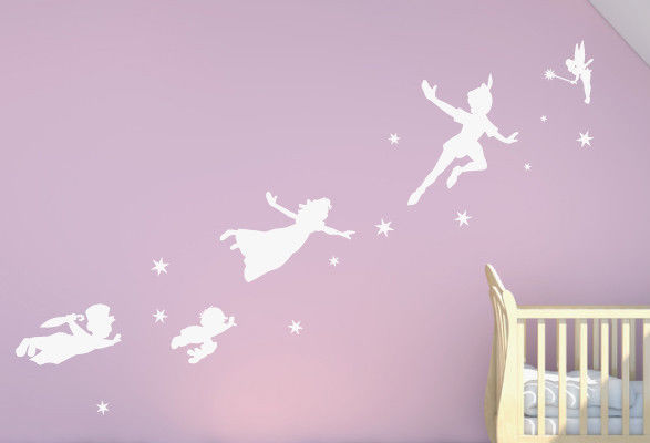 Free Shiping / Peter Pan Tinkerbell Wall Stickers Home Decor For Kids Room  Vinyl Wall Decal