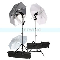 Godox Photography 2X SY3000 E27 Screw AC Slave Flash Studio Lighting Umbrella Stand Kit