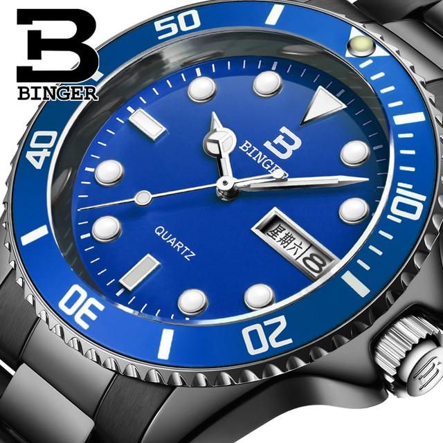 Switzerland Luxury Men's Watch BINGER brand Quartz Full Stainless Steel fashion luminous Wristwatches 1 year guaratee B9203M-11
