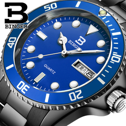 Szwajcaria luksusowy męski zegarek marki BINGER kwarcowy pełne nierdzewne stalowe modne lśniące zegarki na rękę 1 rok guaratee B9203M-11