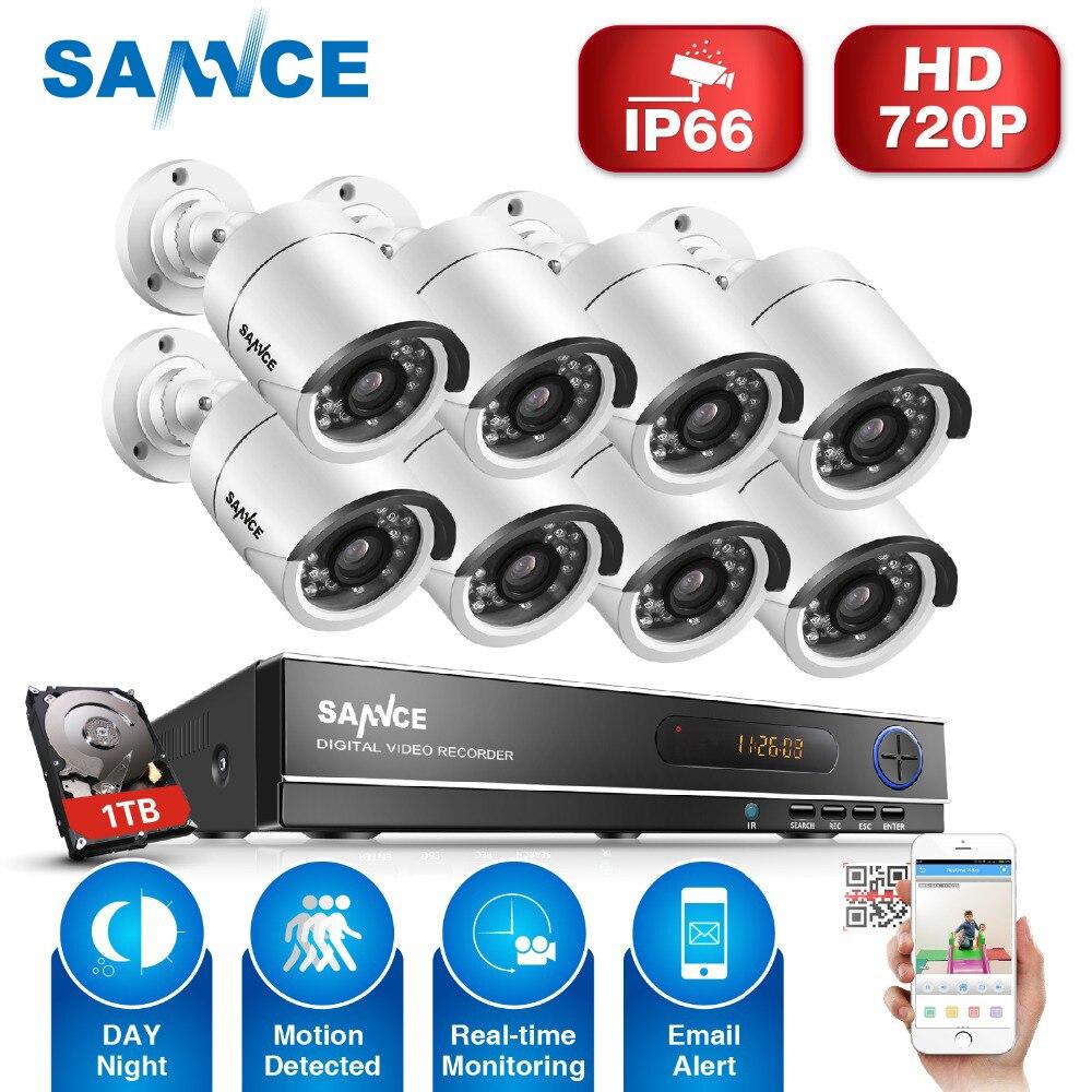 SANNCE 8 Каналы видеонаблюдения Системы 8CH HD 1080N DVR 8 шт. 1280*720 P ИК Открытый камеры 1.0MP комплект видеонаблюдения 1 ТБ HDD
