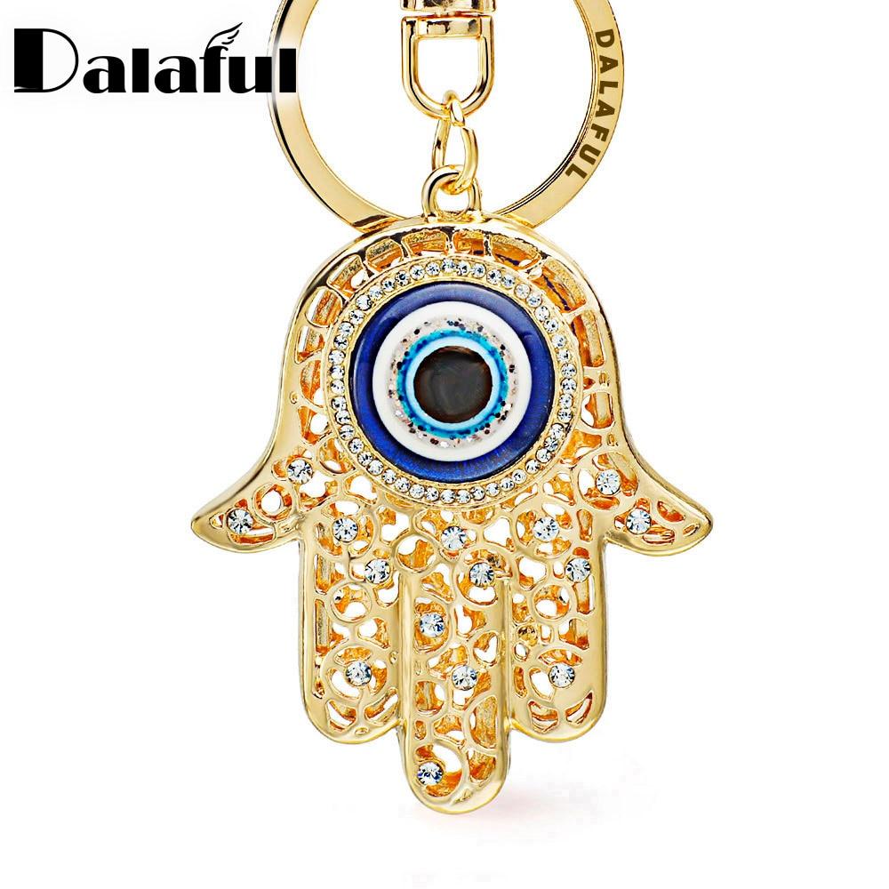 Lucky Hamsa Fatima Hand Eyes Keychains Charm Amulet Purse Bag Buckle Pendant For Car Keyrings