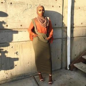 Image 2 - Женская длинная юбка макси на подтяжках, хлопковая юбка с поясом в мусульманском стиле, большие размеры, SK9018
