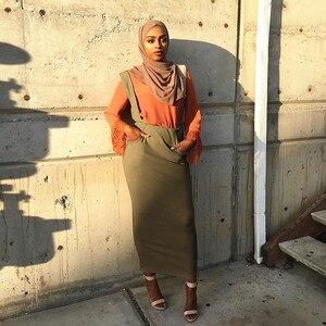 Image 2 - Women Maxi Long Muslim  Skirt suspender Half Plain Cotton New Design Belt  Muslim Long Skirt Large Size  SK9018