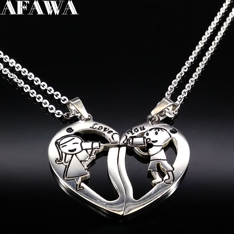 Boy and Girl Stainless Steel Necklaces for Couple Jewelry Silver Color Necklace for Women Valentines Day Gift collares N766S01