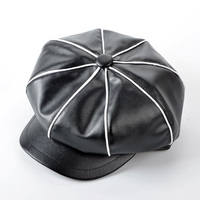 2017 Winter PU Leather Newsboy Caps For Women Black White Leather Octagonal Hat Girls Patchwork Color