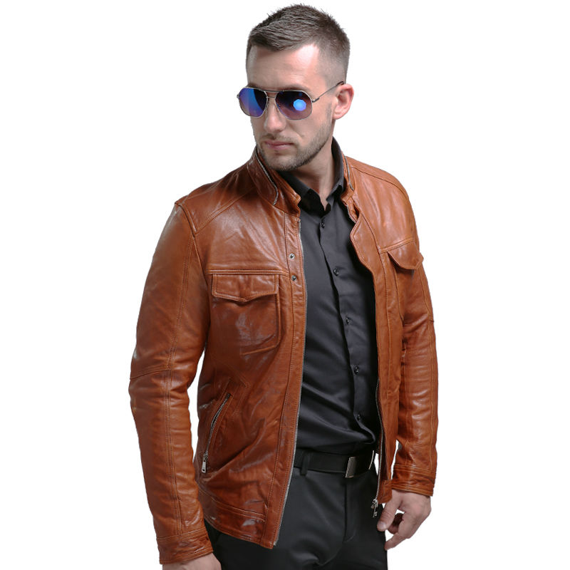 Pria Asli Jaket Kulit Musim Dingin Nyata Jaket Kulit Moto & Biker - Pakaian Pria - Foto 4