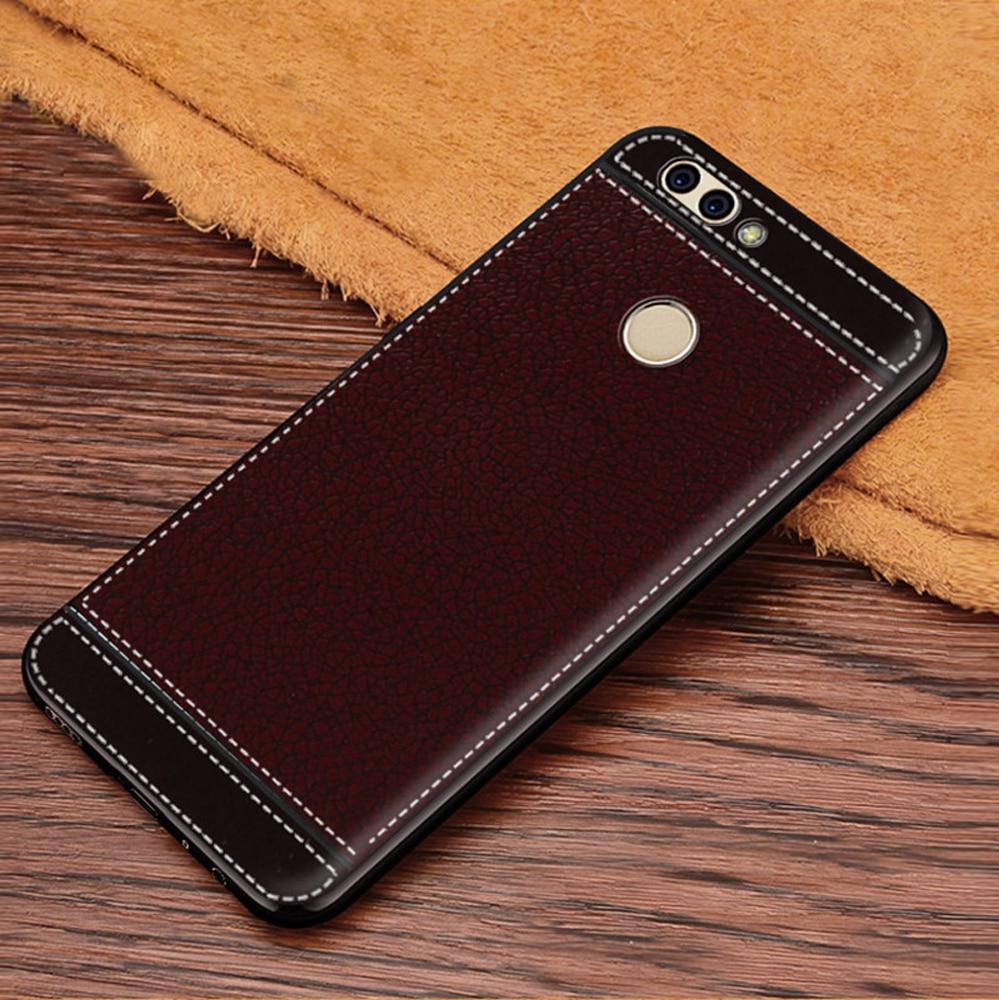 For Nova 2 PIC-AL00 PIC-TL00 Case PU Leather Grain Pattern Soft TPU Back Cover Case for Huawei Nova 2 Plus BAC-AL00 BAC-TL00