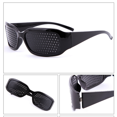 Seemfly Black Pinhole Sunglasses Anti-fatigue Vision Care Pin Hole Microporous Glasses Eye Exercise Eyesight Improve Anti-myopia Karachi