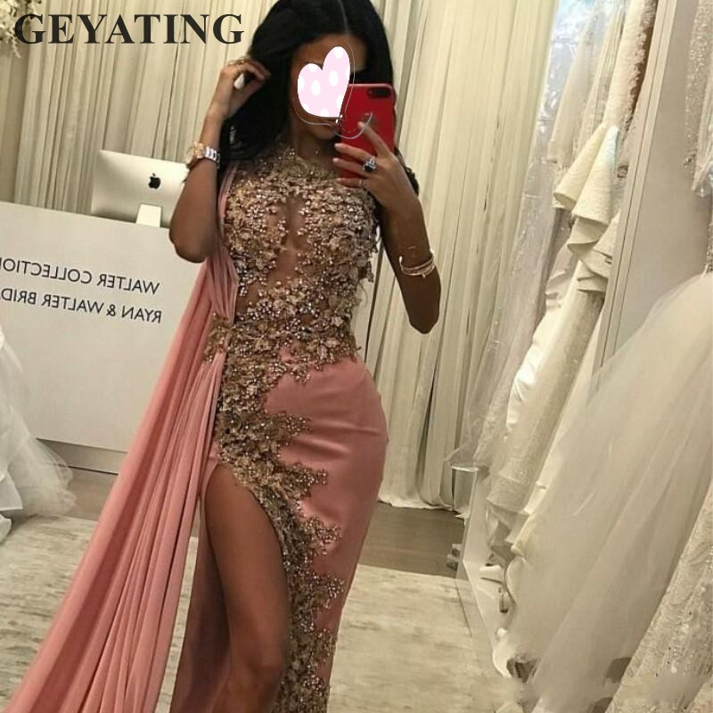 Arabic Dusty Pink Sheath Evening Dress One Shoulder Sexy Side Split Long Dubai Prom Dresses 2019 Elegant Lace Beads Formal Gowns