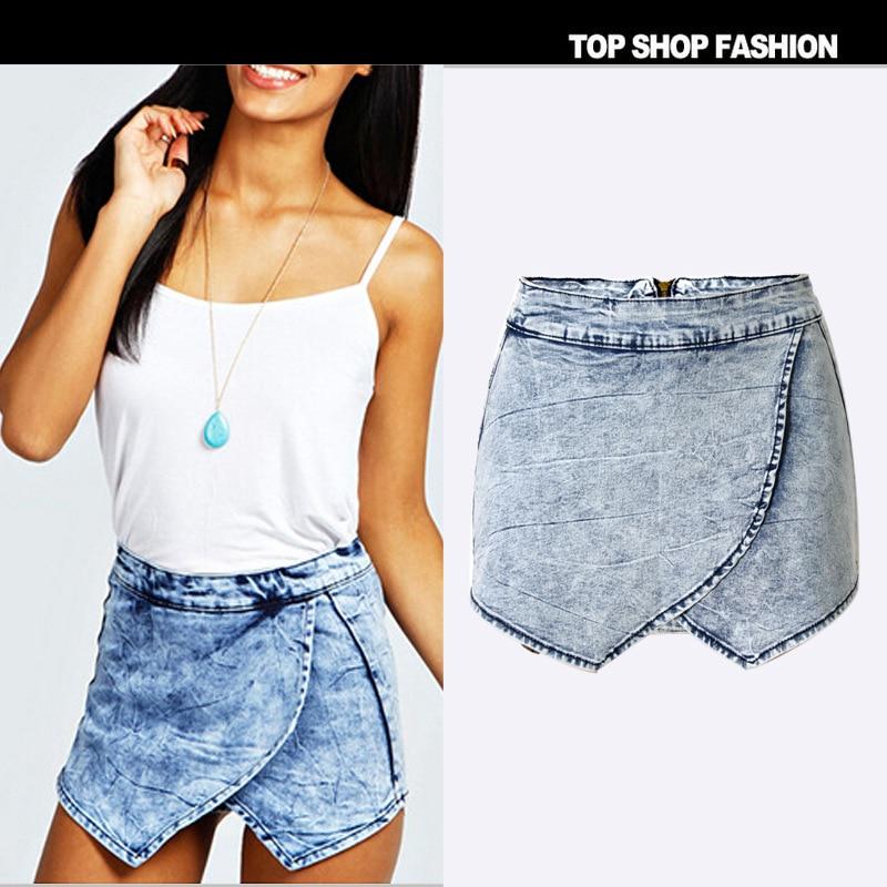 2016 Brand New 100 Cotton Denim Shorts Women Irregular Wild Culottes Summer Hot Pants Fashion Snowflake