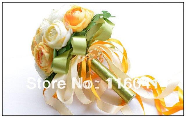 Оранжевый Tea Rose 20 Шт. Цветок Свадебный Букет невесты Свадебный Бросьте Цветок Невесты Букет