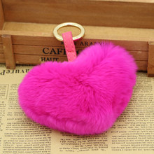 Genuine Rex Rabbit Heart Heart Keychain shape10cm pants skin color female 12 hair ball accessories lover key chain(China)