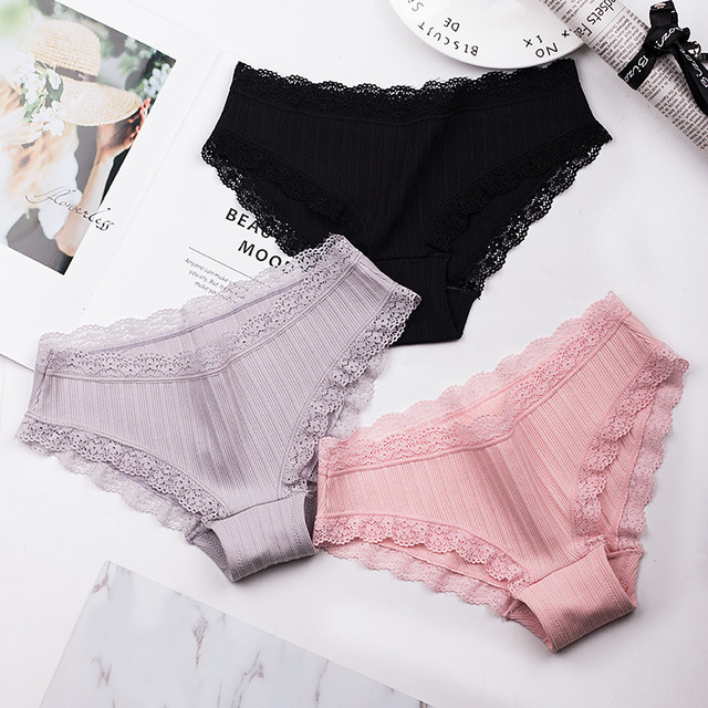 c1ee6cedf 2018 Women Panties Cotton Lace Briefs Sexy Low-rise Seamless Striped  Underwear Breathable Black Lingerie Intimates