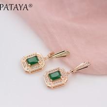 PATAYA New 585 Rose Gold 10 Colors Dangle Earrings For Women Square Natural Zircon Long Earring Fashion Wedding Jewelry brinco