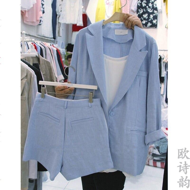 Été Nouvelle Mode shorts pour femme Pantalon costume Femmes lâche coton et lin Blazer veste de costume shorts costume lin Ensembles de deux pièces