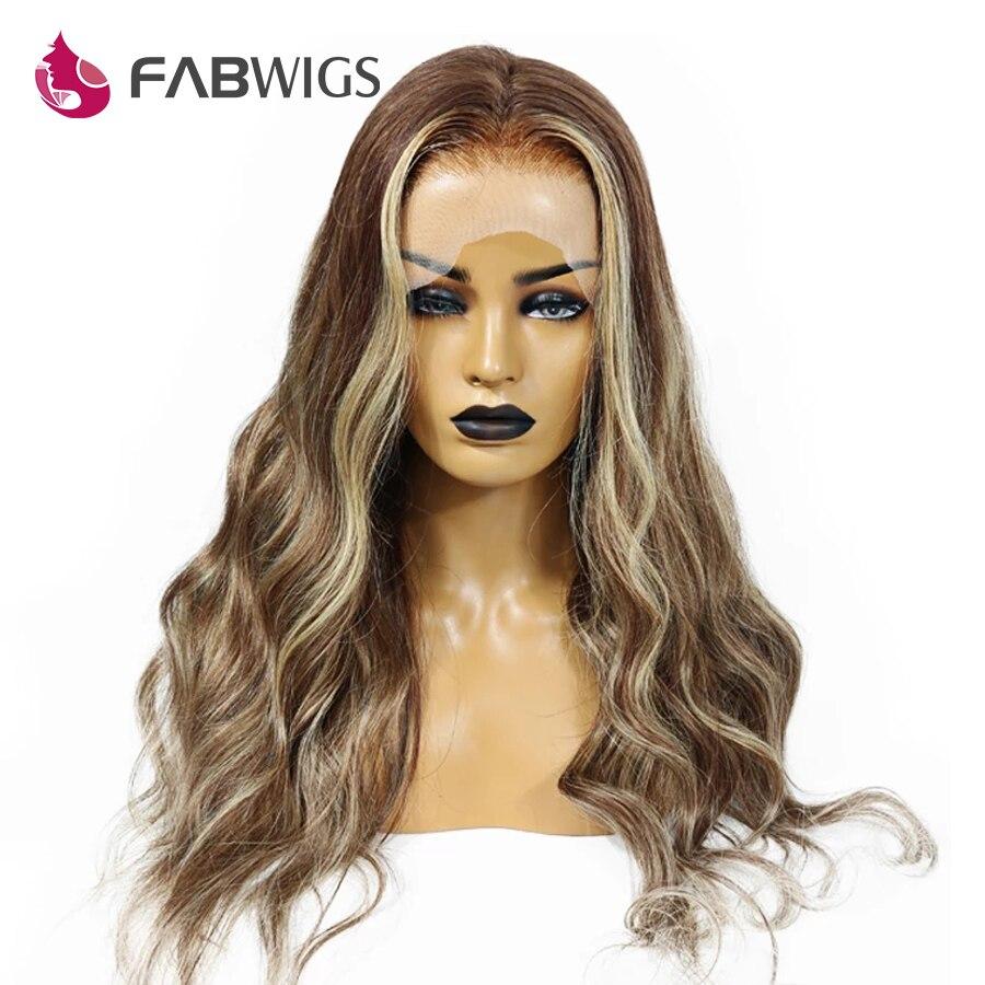 Fabwigs Destaque Cabelo Humano Rendas Frente Perucas 180% Densidade T4/4/24 Beyonce Ombre Peruca Dianteira Do Laço Transparente cabelo Remy pré Arrancadas