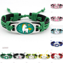 (10PCS/lot)  Unicorn Glass Cabochon Bangle Bracelet Vintage Black Leather Bracelets for Women Men Jewelry