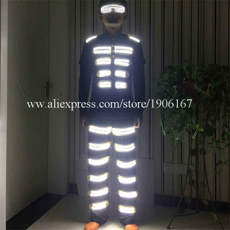 Fashion Colorful Led Light Robot Suit LED Luminous font b Clothing b font Dance Costume Stage