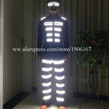 Модные яркие светодиодные робот костюм со светящимися вставками Костюмы танцевальный костюм реквизит для вечеринок Бесплатная доставка