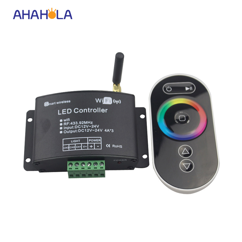 Smart Led Wifi Controller with RF touch panel remote, 2.4G wifi led dimmer/color temperature/RGB controller for rgb led strips m3 m4 5a m3 touch rf remote with m4 5a cv receiver led dimmer controller dc5v dc24v input 5a 4ch max 20a output