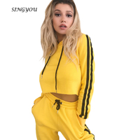 SINGYOU Winter New Fashion Two Pieces Clothes Set Spring Women Yellow Hooded Crop Top And Pants