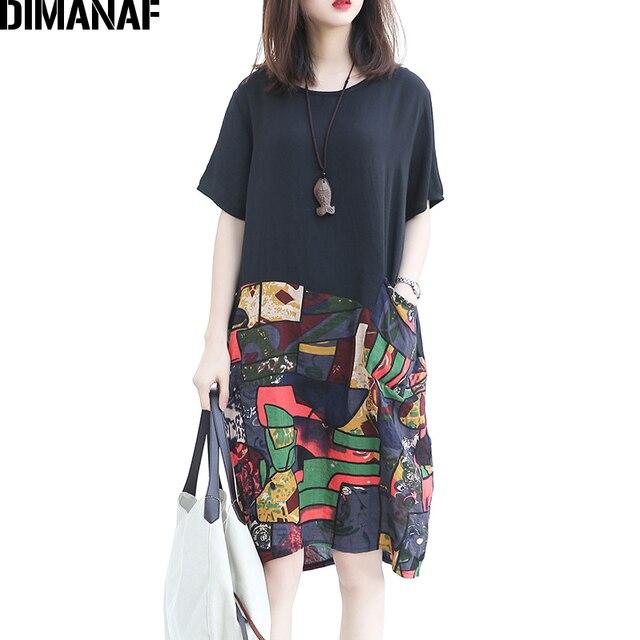 bd4551223b4 DIMANAF Summer Women Dress Plus Size Casual Linen Patchwork Print Pattern  Female Short Sleeve Loose Spliced 2018 New Dresses