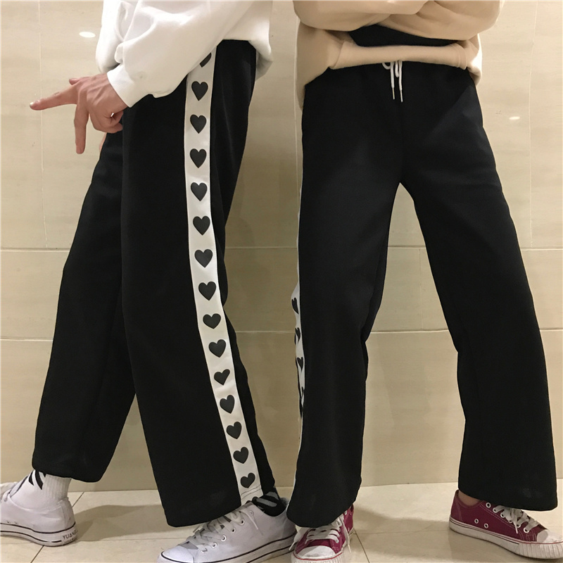 Korea Ulzzang Sweet Cute Heart Pants Printing Spliced Casual Loose Lace Up Elastic Waist Student Wide Leg Pants Black and Pink