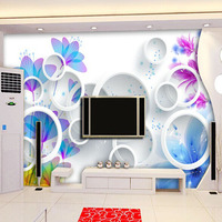 Elegant Wallpaper TV setting wall paper Flowers and circle sitting room sofa background large murals 3d wallpaper Free shipping