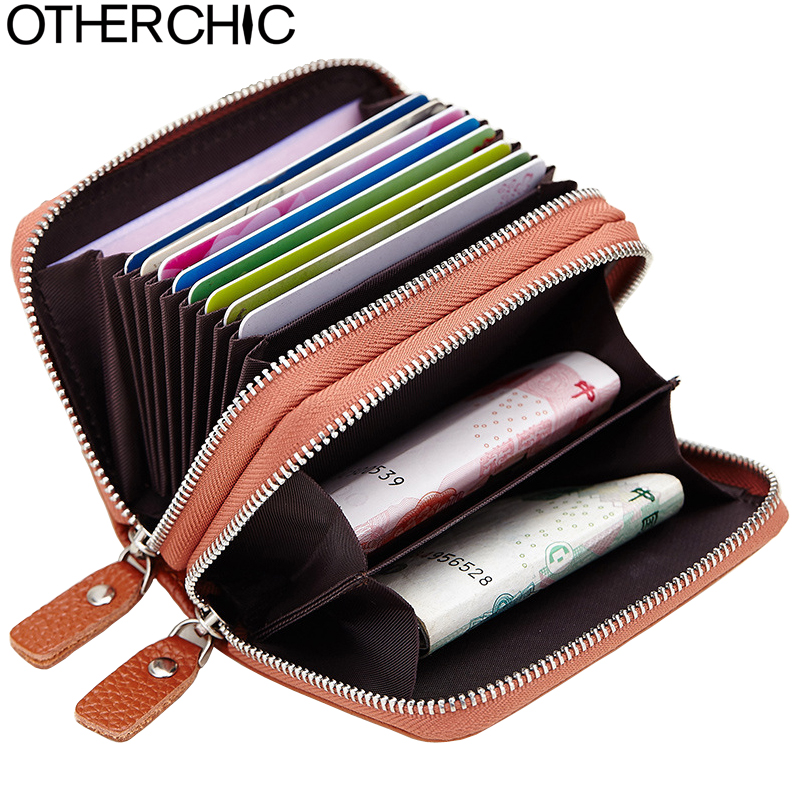 OTHERCHIC Genuine Leather Women Credit Card Holder Double Zipper Men Coin Change Purse Wallet Short Card & ID Holder 6N12-46